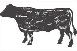 Partes de la vaca o buey